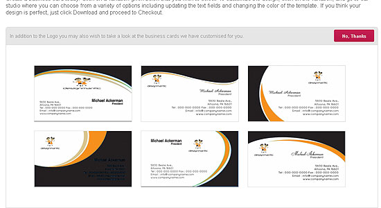 Select Additional Services like Business Card, etc.