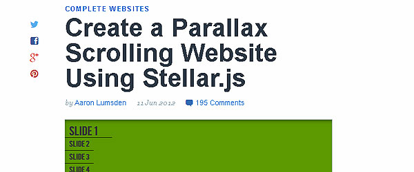 how to create parallax scrolling website
