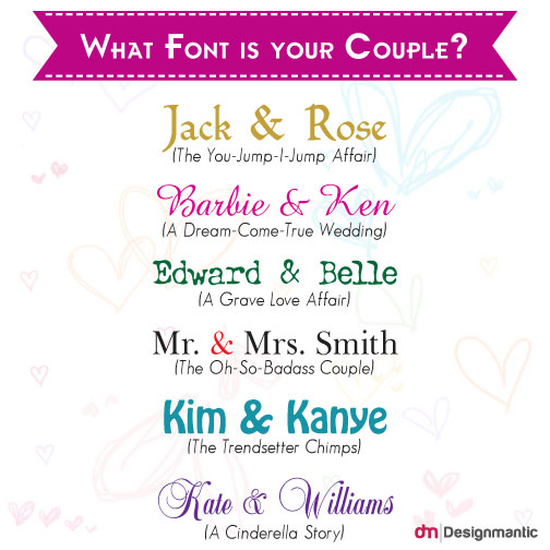 What your Wedding Font says about your Couple?