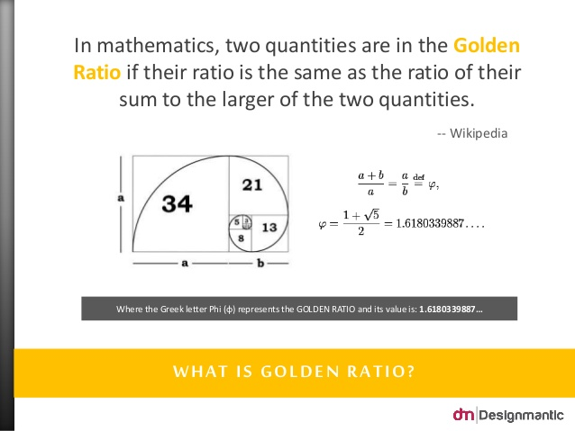 Golden ratio in design designmantic the design shop as you can see the golden ratio must always be expressed in the form the irrational number 1618 put simply when ab being divided by a and when a colourmoves