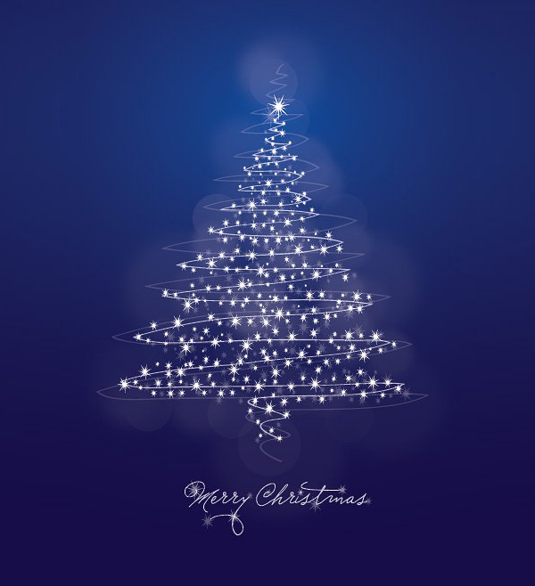 Abstract Christmas Tree Blue