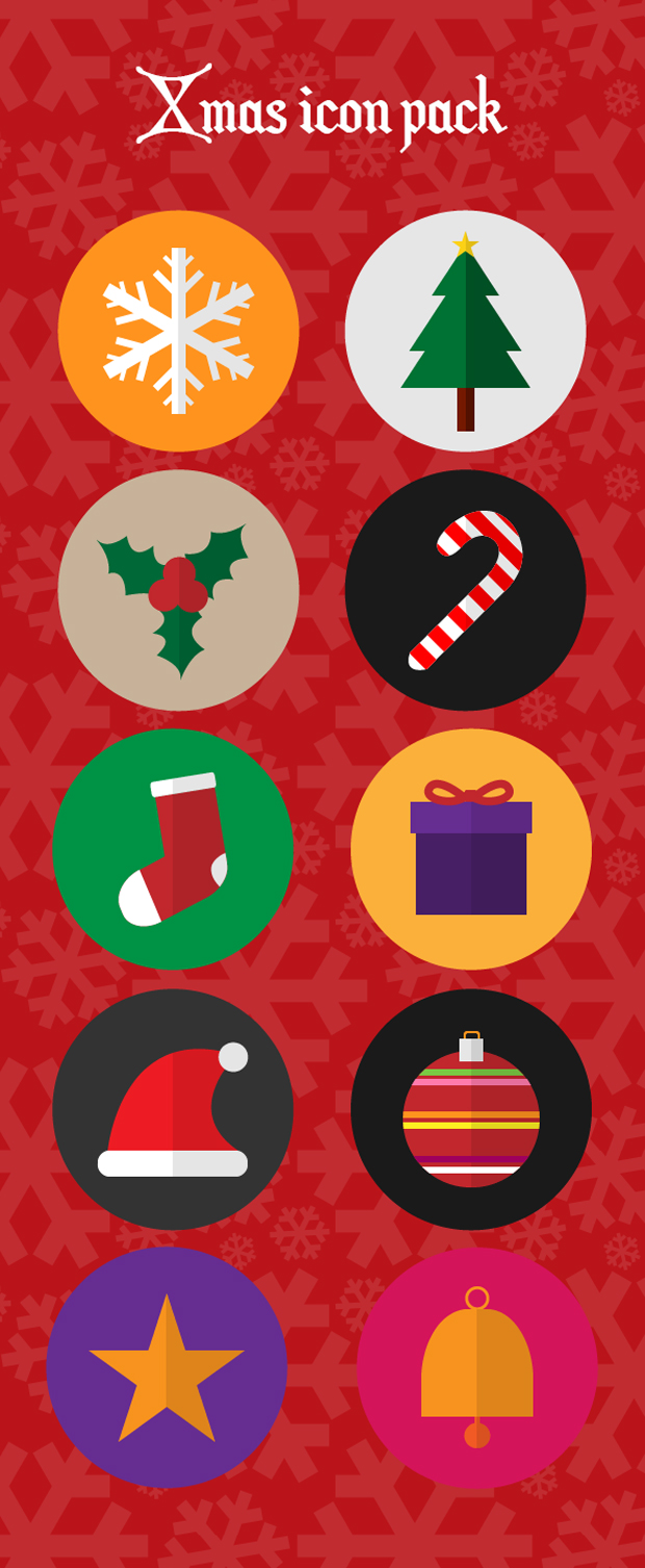 Flat Icon Pack For Christmas
