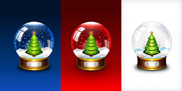 Snow Globe Icons For Christmas