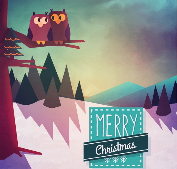 Snow Owl Christmas Vector Illustrations