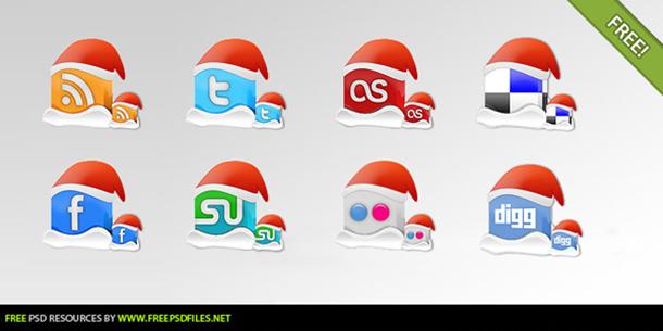 Xmas Caps Social Media Icons