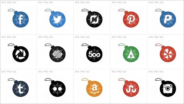 Xmas Social Media Icons