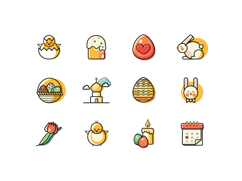 12 lines and fills Easter Icons