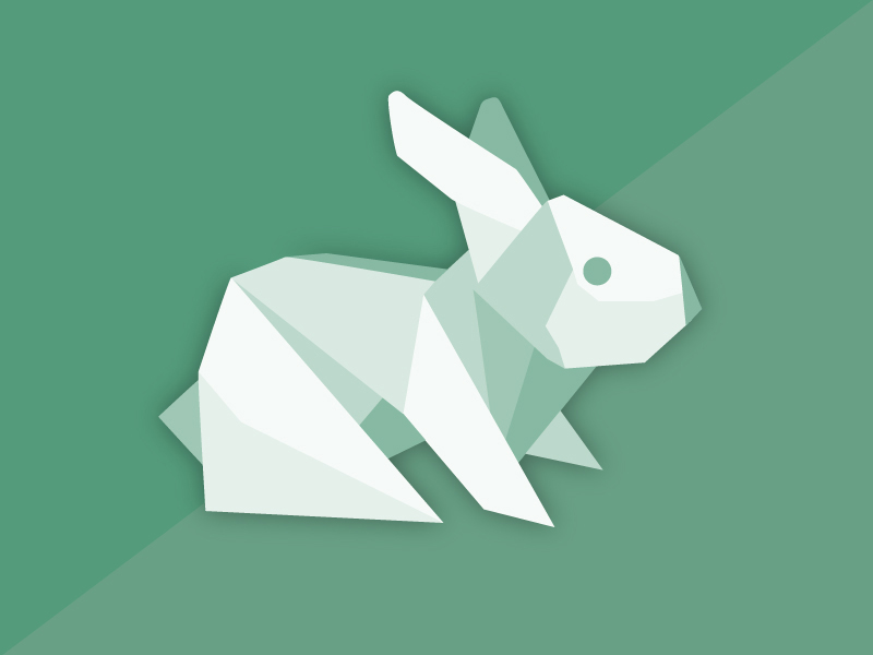 Origami Green Rabbit