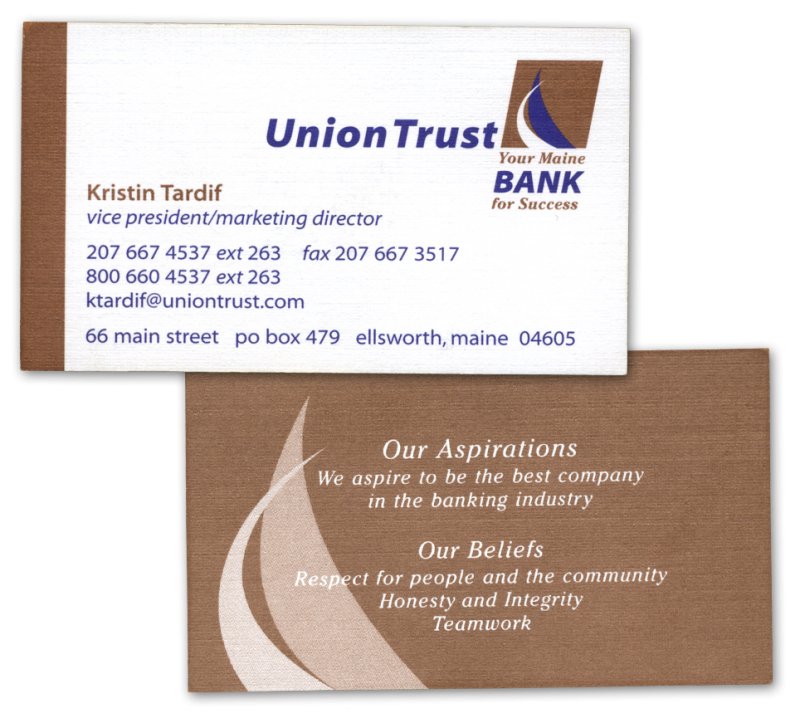 Branding your bank right from logo design to stationary for Union business cards
