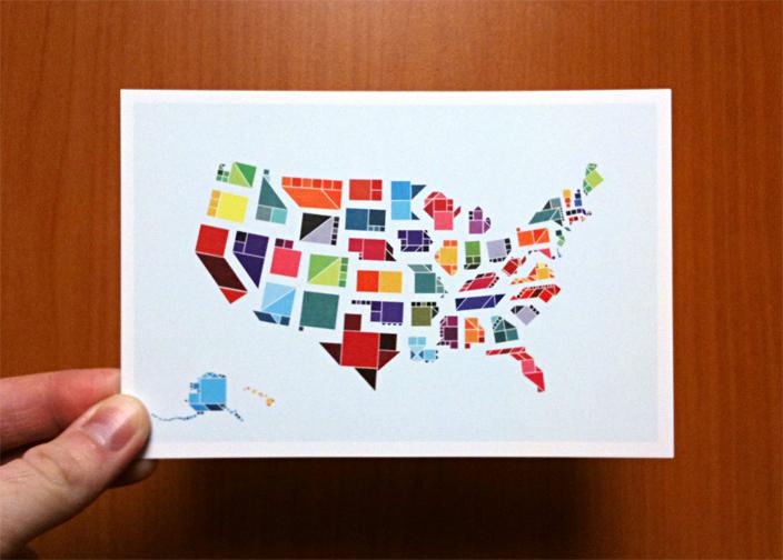 tangram states postcards