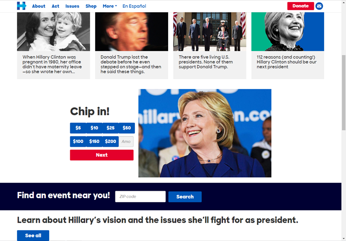 hillarys official campaign website
