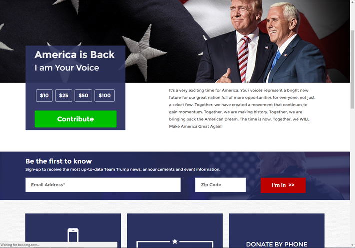 trump official campaign website