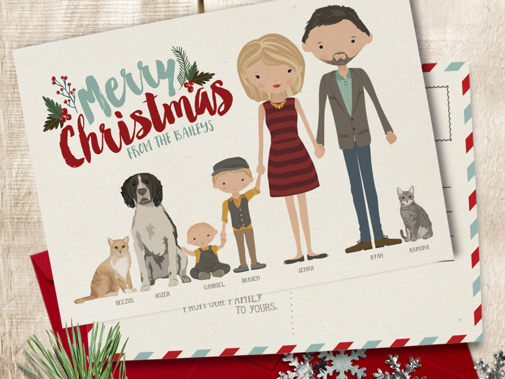 Family Illustrated Christmas Card