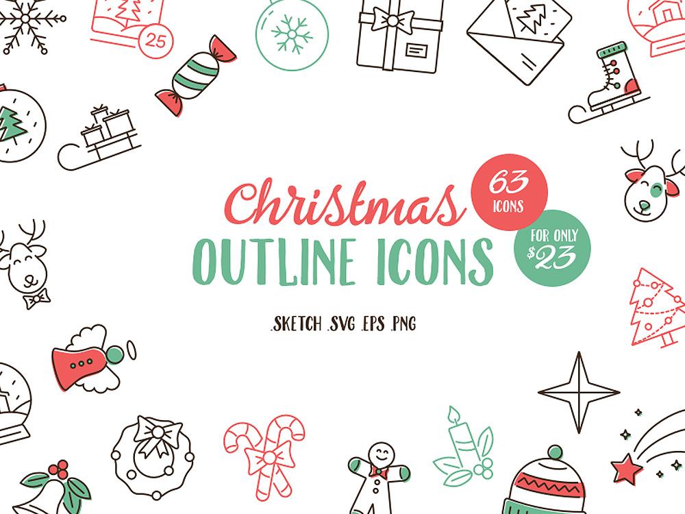 Christmas Outline Icon Set