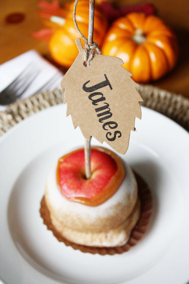 Candied Apple Placecards For Kids