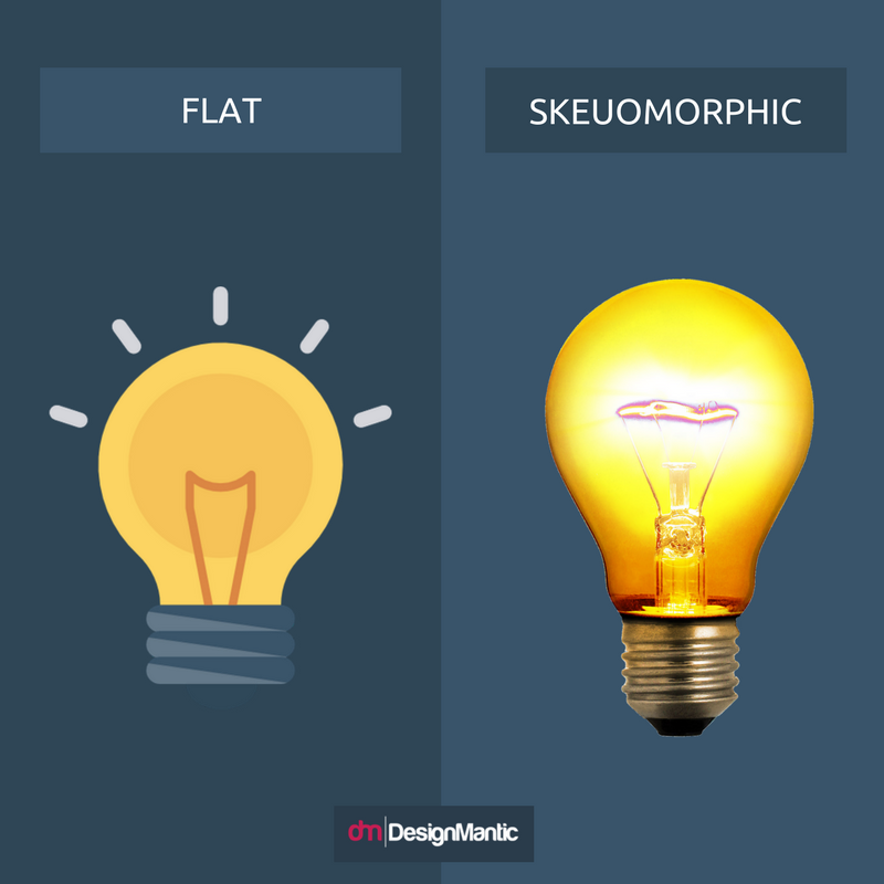 Flat Vs Skeuomorphic Logos