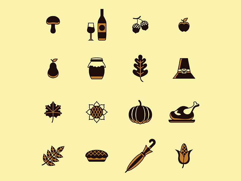 Thanksgiving Retro Icons Set