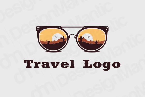 Sun Glasses With A Desert Scenery Logo