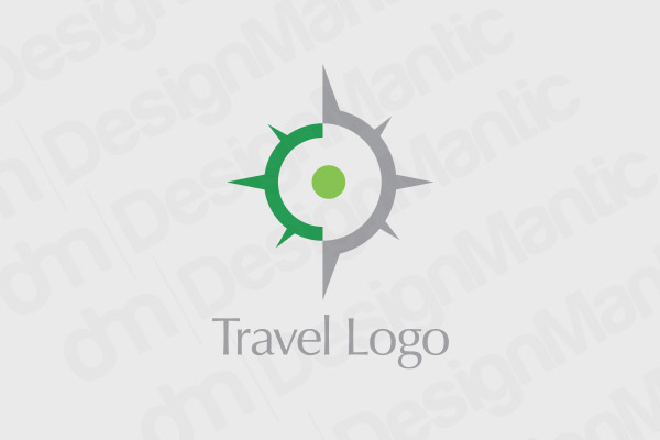 Minimal Compass Logo With Green And Grey Color