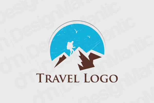 Snow Covered Mountain Logo With A Silhouette Figure
