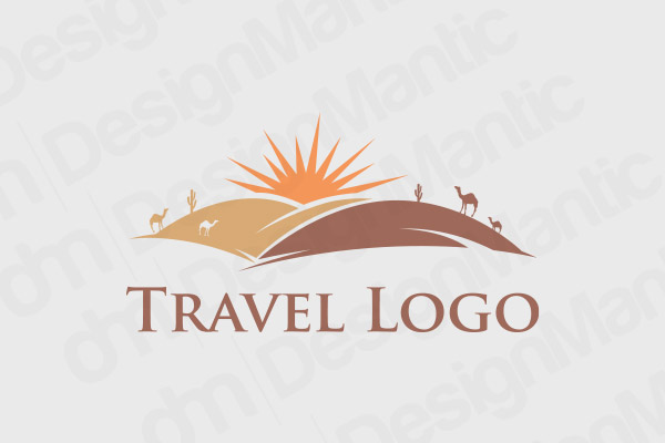 Camels And Sun In A Desert Logo