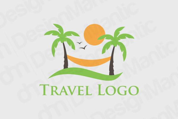 Beach Logo Design With Palm Tree, Sun And A Hammock
