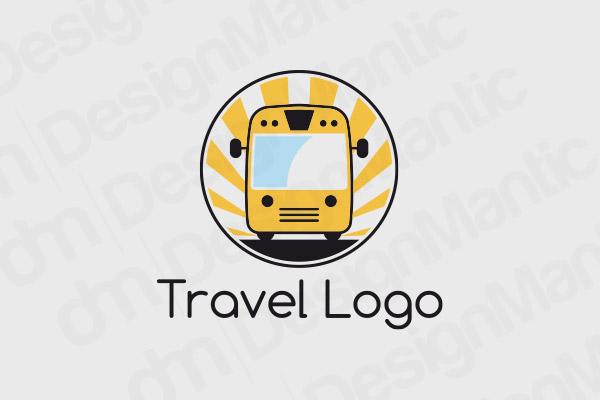 School Bus Logo In A Circular Outline