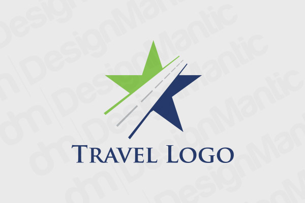 Star Logo With Dotted Line Path