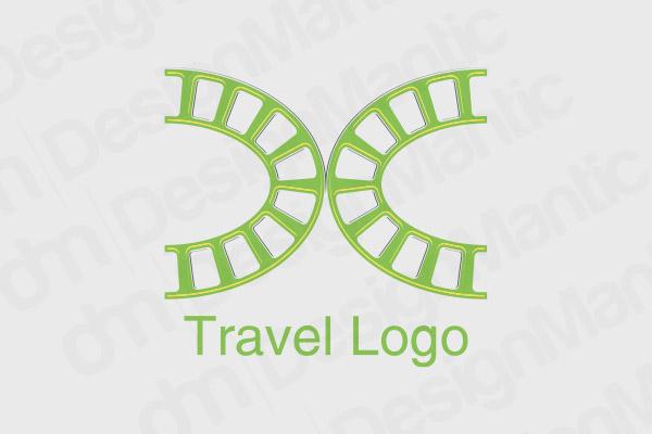 Train Track Logo Design In Green Color
