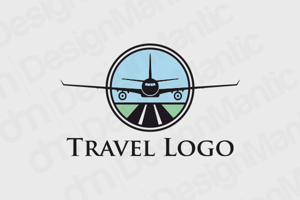 Flight Logo With Black Airplane Outline