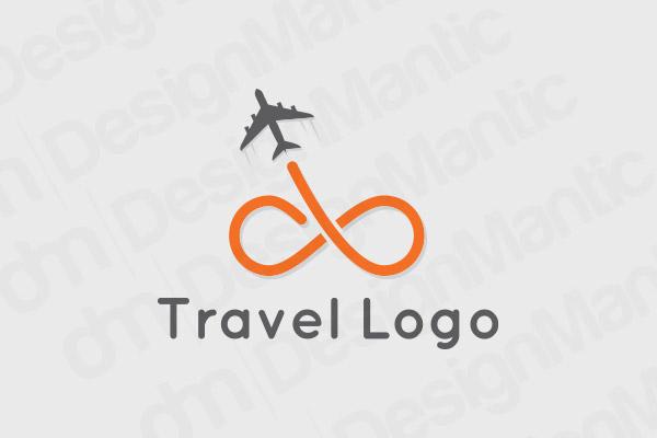 Black And Orange Travel Logo With Aero Plane