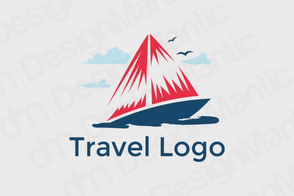 Cruise Ship Logo With Clouds And Birds
