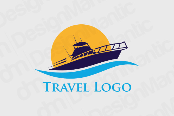 Dark Blue Ship Floating Through A Wave Logo