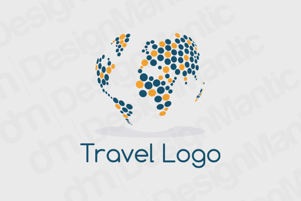 World Map Logo With Blue And Orange Dots