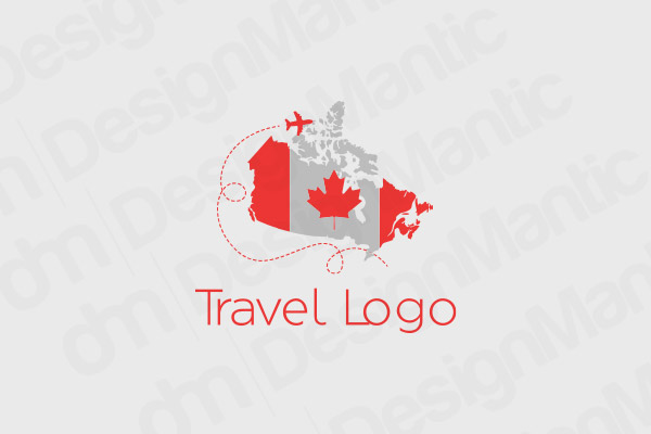 Canadian Map And Flag With Airplane Logo