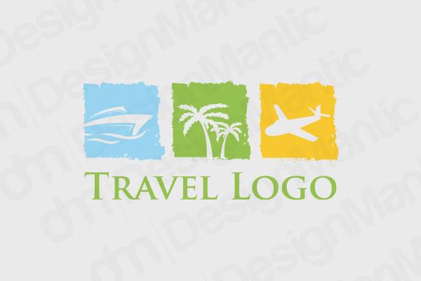 Boat, Palm Tree And Aero Plane In A Box Logo