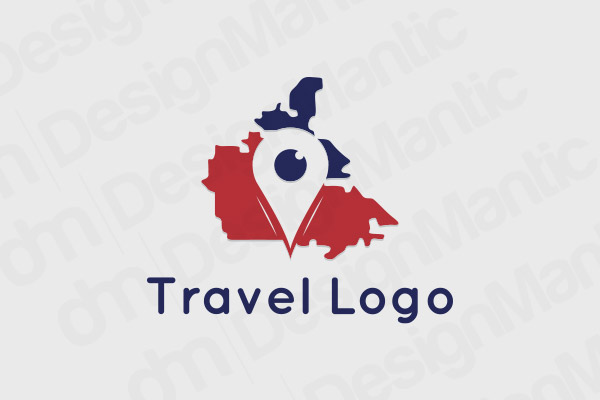 Location Icon Logo With Blue And Red Map In The Background