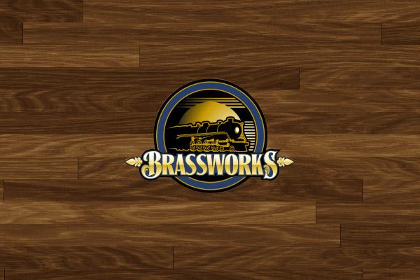 Wooden Theme Travel Logo Design With Train