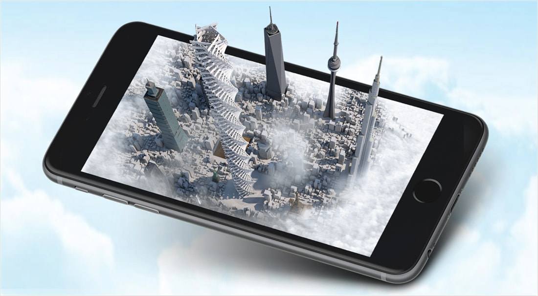 Skyscrapers emerging from mobile phone screen