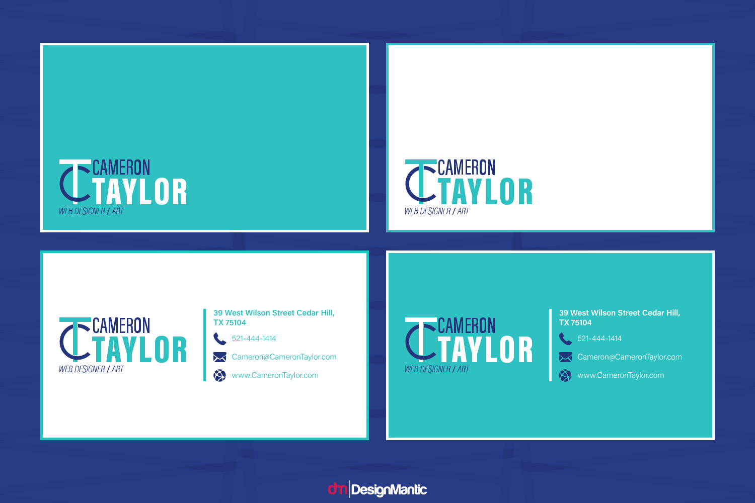different business card layouts