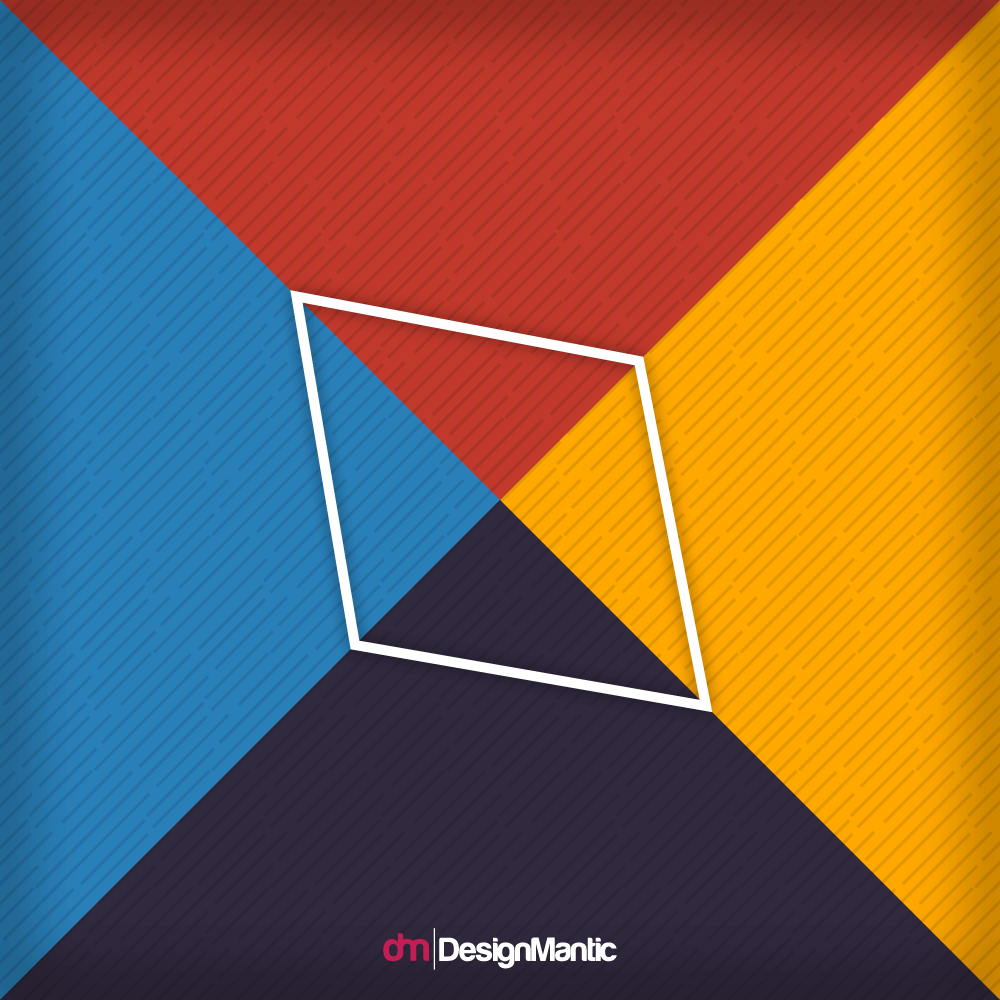 white line quadrilateral with four colors of background