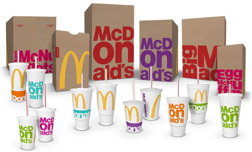 McDonald's paper bags and disposable glasses
