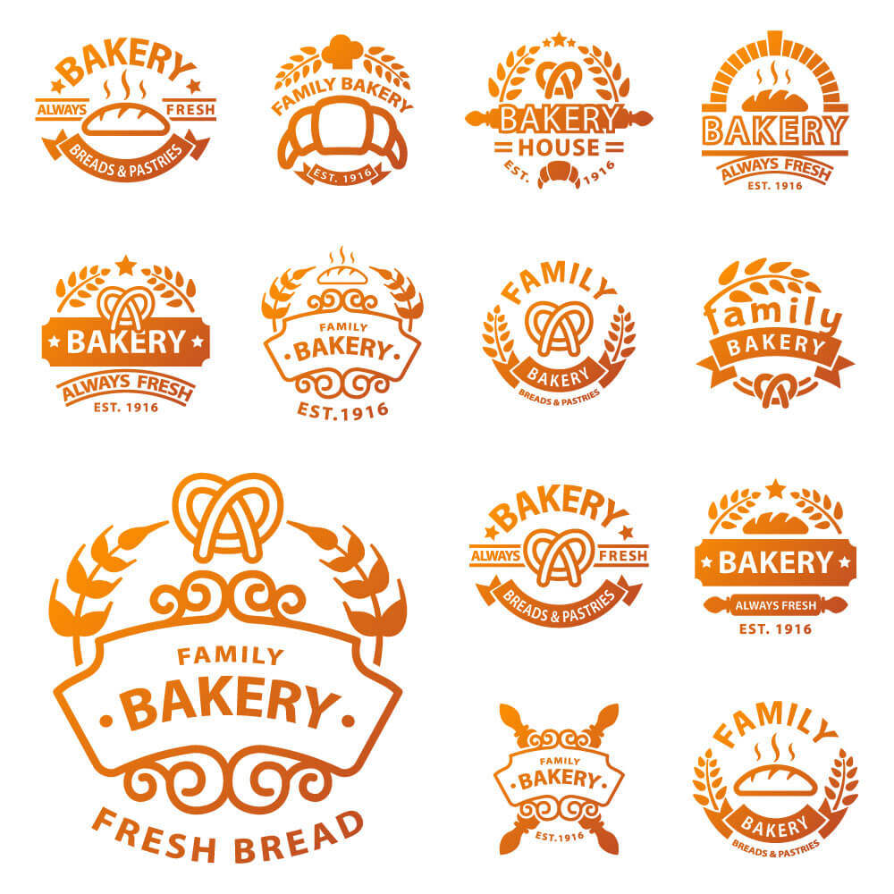 Golden bakery logos in retro style