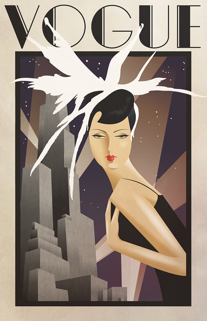 Bird feather hair style of a girl in a black dress having tall building in background. Vogue poster