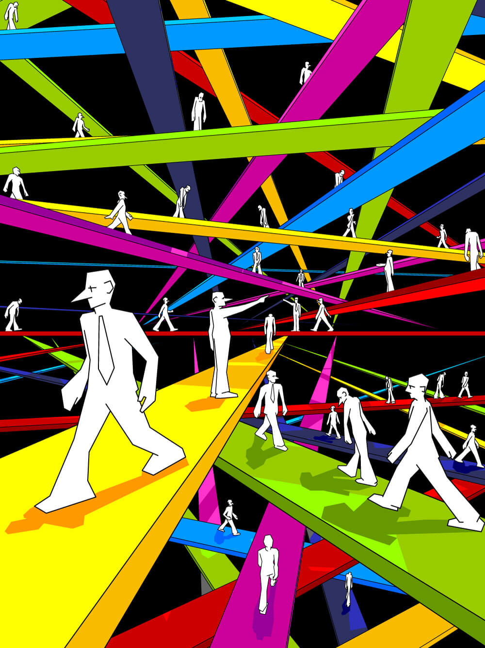 White abstract men, walking at colored strips