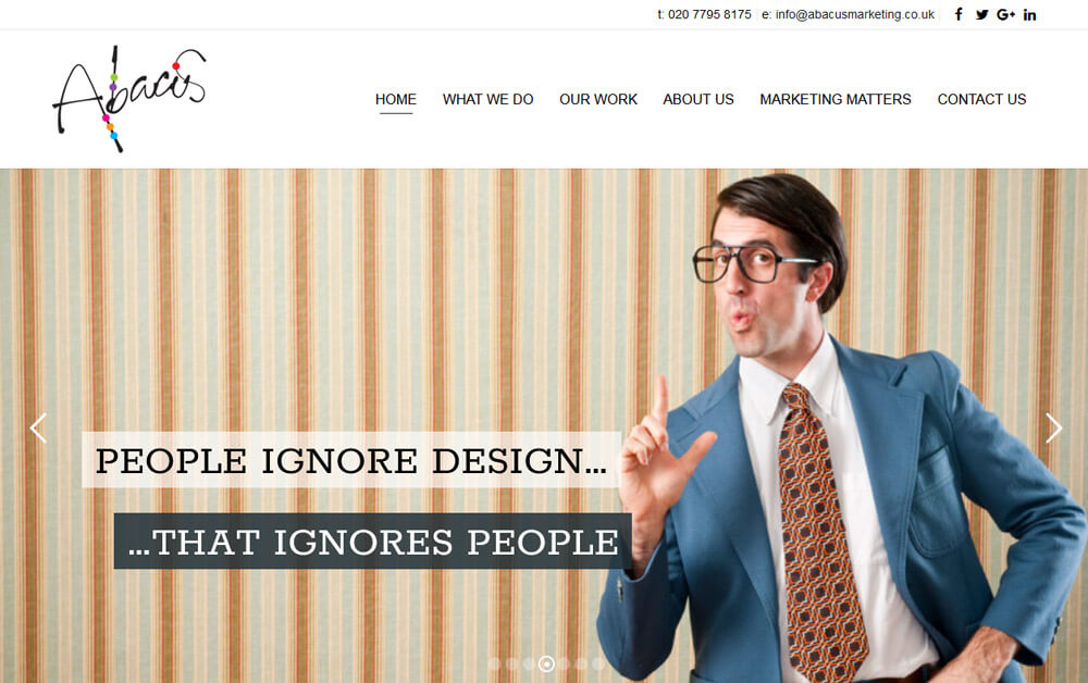 "Abacus web page design "" People Ignors Designs, that ignors people"""