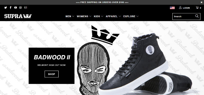 web page of shoe brand