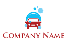 car with water bubbles logo