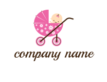 baby in stroller childcare logo