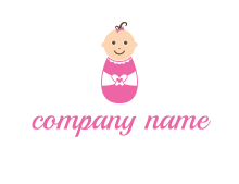 childcare logo with a baby in pink